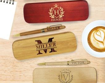 Wood Pen Set, Monogrammed Pen Set, Engraved Pen Case, Personalized Pen Set, Monogrammed Wood Pen, Desktop Pen Holder, CEO Gifts, Boss Gift