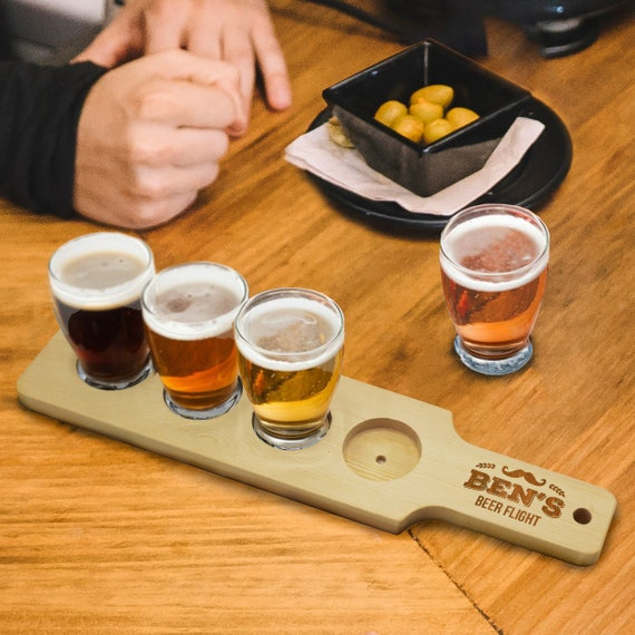 Personalized Beer Flight Set Beer Paddle And 4 Beer Tasting Etsy