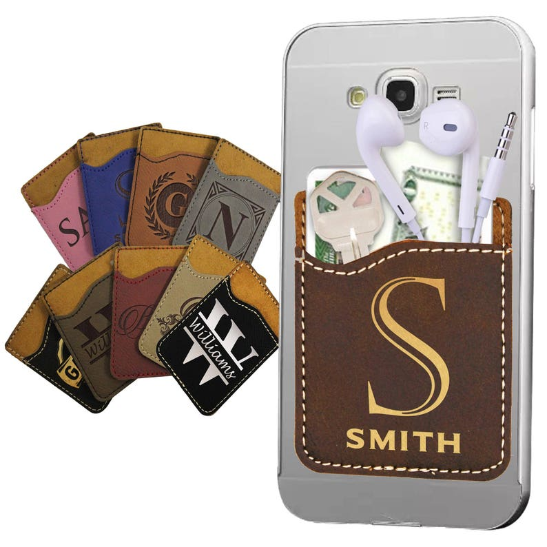 buy online 77a8a b6053 Adhesive Card Wallet, Personalized Cell Phone Wallet, Stick on Card Holder,  Cell Phone Card Holder, Custom Card Holder, Smartphone Wallet