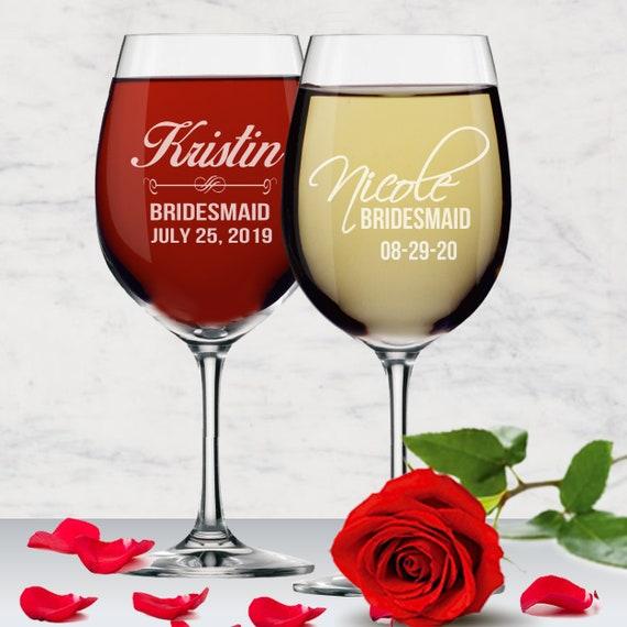 Personalized Engraved Wine Glass Glasses Wedding Bridesmaid Fancy Monogram