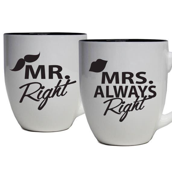 M Droit /& Mrs Always Right Tasse Ensemble de 2 Anniversaire De Mariage Cadeau