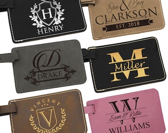 Custom Luggage Tag, Personalized Leather Luggage Tag, Luggage Tags Personalized,  Monogram Luggage Tag, Engraved Luggage Tag, Luggage Tags