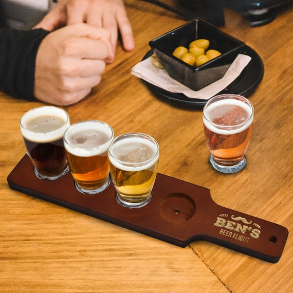 Personalized Beer Flight Set Beer Paddle And 4 Beer