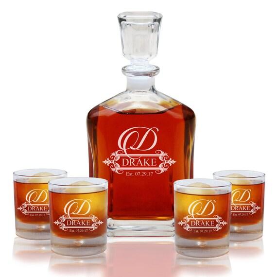 cadeau de pendaison de cr maill re ensemble carafe whisky etsy. Black Bedroom Furniture Sets. Home Design Ideas