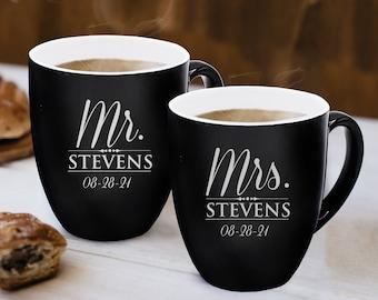 Personalized Mr and Mrs Coffee Mugs Set of 2, Custom Mr Mrs Coffee Set, Customized Mr and Mrs Coffee Mug Set