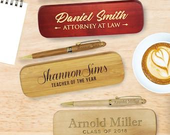 Personalized Pen Case, Monogrammed Pen Holder, Engraved Pen Set, Wood Pen Case, Personalized Wood Pen, Teacher Gifts, Nurse Doctor Gifts
