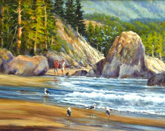 water Lake Tahoe sea original art by DJ Lanzendorfer original lake Landscape oil painting trees FREE SHIPPING rocks impressionist