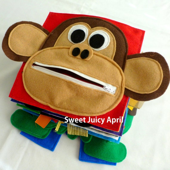 monkey zipper mouth quiet book page etsy