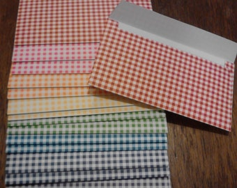 10 Checkered Cash Envelopes, Assorted Colors, Budget Envelope, Budget System, Envelope System, Cash Log