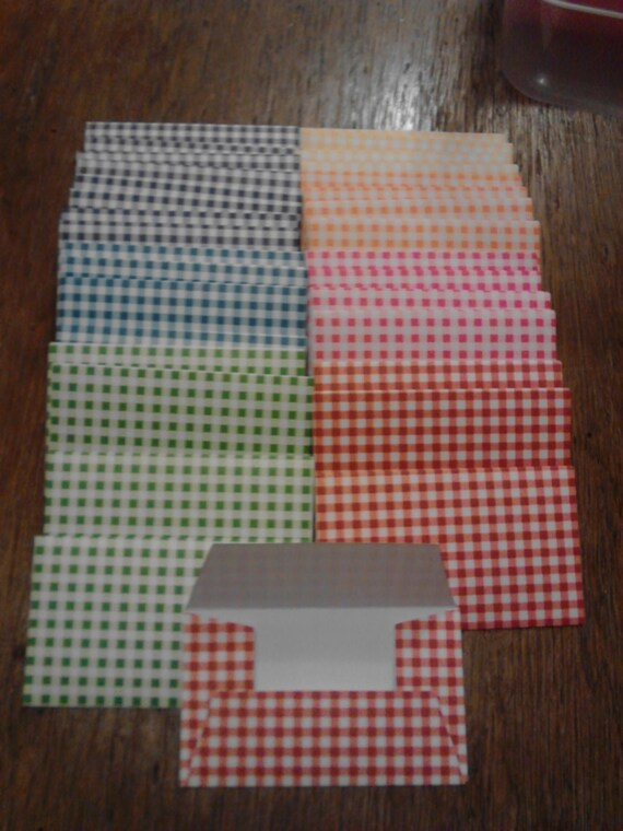 Checkered gift card envelopes business card envelope trios etsy reheart Images