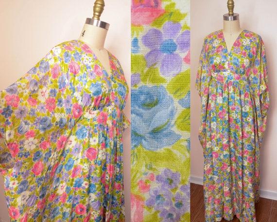 Heavenly 1960s Vintage Floral Sheer Soft Caftan -