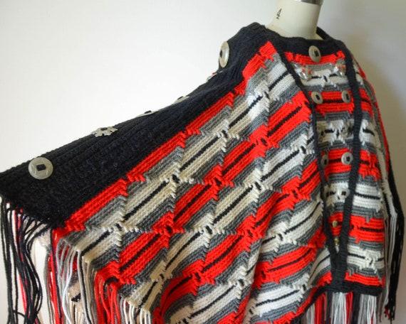 Vintage One of a Kind Concho Poncho - Heavy Knit W