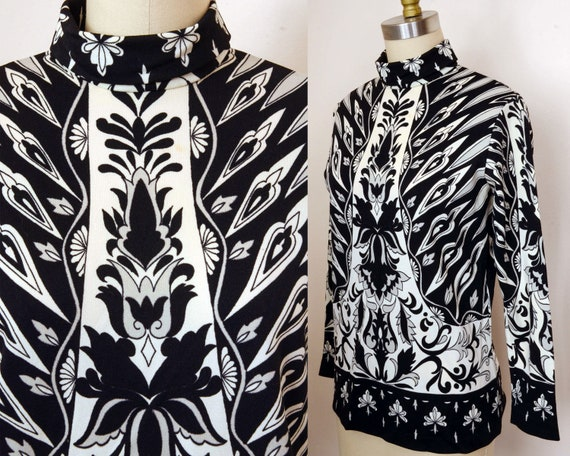 Wild Psychedelic Black & White Tunic Blouse - Flor