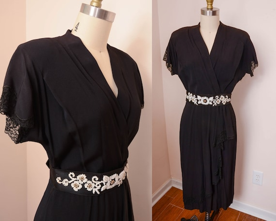 Gorgeous 1940s 50s Side Zip Black Rayon Dress - Pl