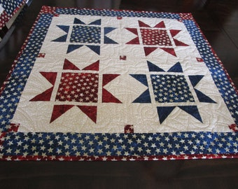 Patriotic Table Topper**Fourth of July**Red White & Blue** Patchwork Table Runner**Housewarming gift**Square Table Topper**Quilted Runner