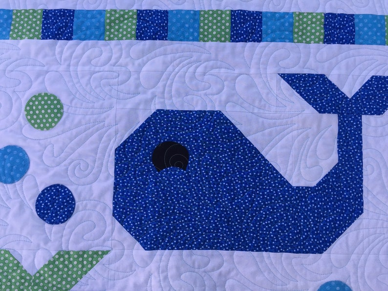 Quilted Baby Boy**Whales**Blue**New Baby**Nursery**New Mother**Baby Shower Gift**Baby Blanket