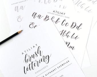 Brush Lettering Worksheet, Brush Lettering Alphabet, Calligraphy Exemplar, Bounce Calligraphy Worksheet, Modern Calligraphy Worksheet,
