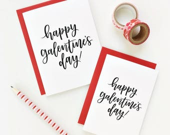 10 PK / Happy Galentine's Day Card Set, Valentine's Day Card, Modern Calligraphy Lettering