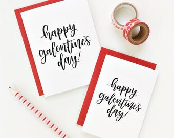 6 PK / Happy Galentine's Day Card, Card for BFF, Modern Calligraphy Lettering, Card Set