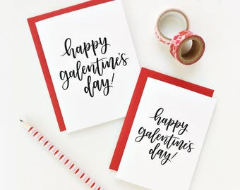Happy Galentine's Day Calligraphy Card, Galentine's Day Card, Hand Lettered Card, Valentine's Day, Best Friend Card/ A1 or A2 Size