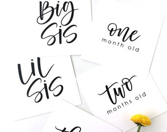 INSTANT DOWNLOAD Baby Milestone Cards, Sibling Milestone Cards, Big Sis, Lil Sis, Calligraphy Milestone Card, Baby Shower Gift, Newborn Gift