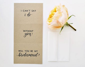 Will You Be My Bridesmaid Card. I Can't Say I Do Without You, Hand Lettered Card, Calligraphy Card, Bridesmaid Proposal, Bridal Party Card
