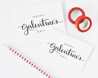 6 PK / Happy Galentine's Day Card, Modern Calligraphy Lettering, Best Friend Gift, Friendship Card, A1 or A2
