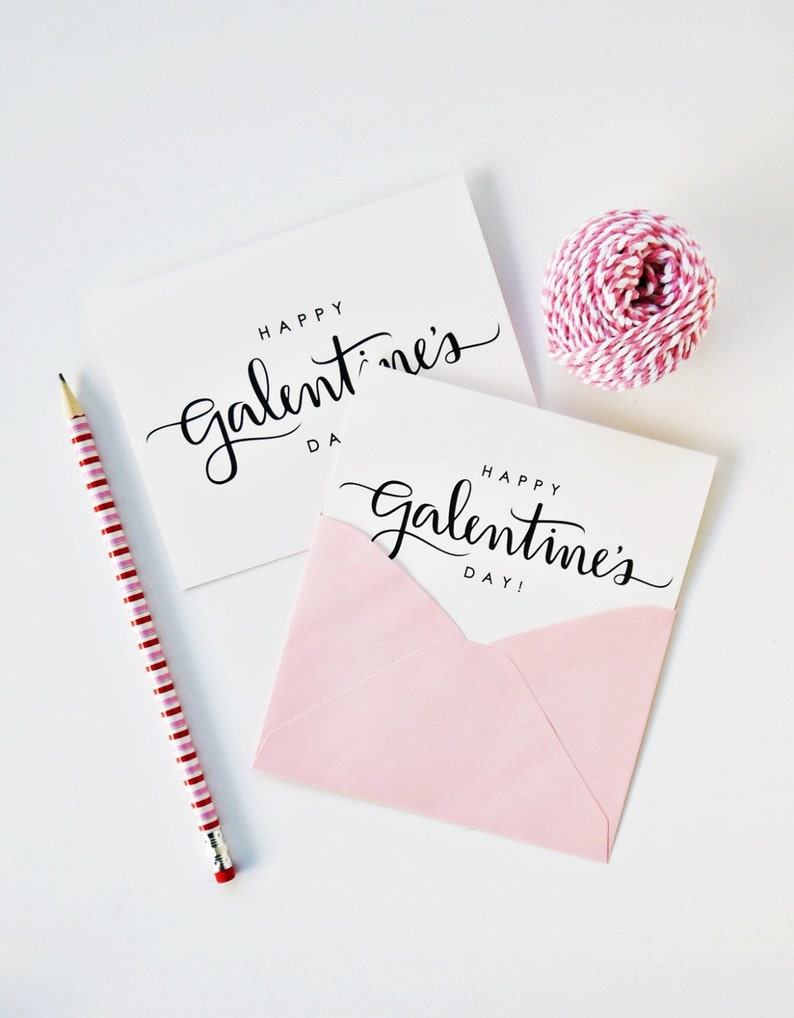 Happy Galentine's Day Card Calligraphy Card Hand image 0