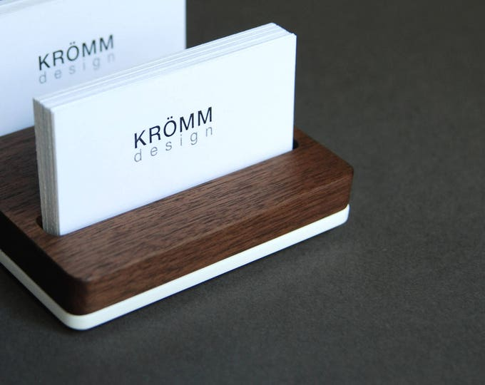 Business Card Holder for Desk  / Wood Business Card Stand / Business Card Display / Walnut and Acrylic Card Holder