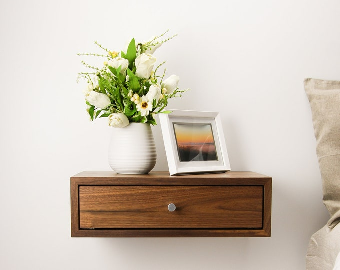 Floating Nightstand with Drawer / Walnut Wood Hanging Bedside Table / Scandinavian / Mid-century / Modern / Minimalist