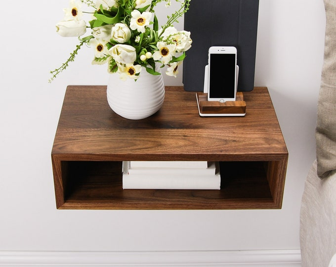 Solid Walnut Wood Floating Nightstand / Floating Walnut Bedside Table / Mid-century / Scandinavian / Eames