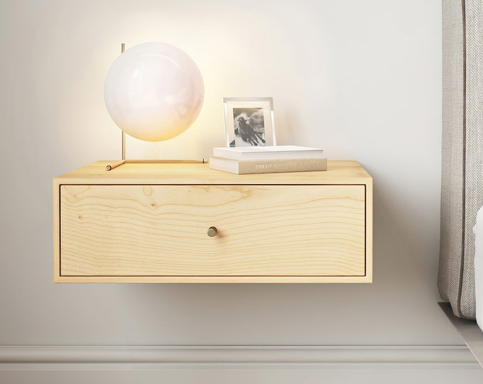Solid Sugar Maple Wood Floating Nightstand with Drawer / Sugar Maple Hanging Bedside Table / Scandinavian / Mid-century / Modern  Minimalist