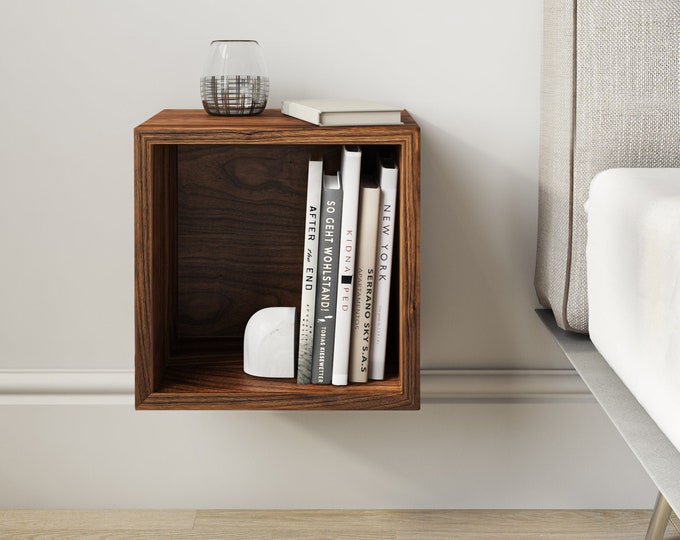 Solid Walnut Wood Floating Nightstand / Floating Walnut Bedside Table / Mid-century / Book Shelf
