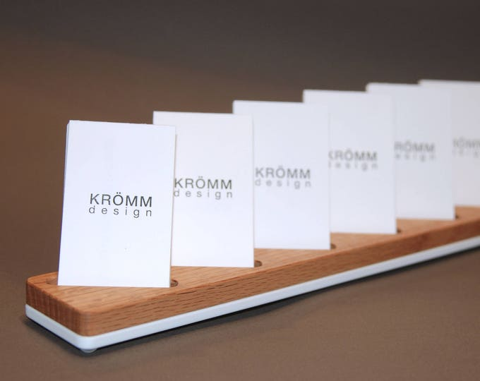 Multiple MOO Business Card Stand / Oak Wood and White Acrylic Business Card Display / 6 Vertical Card Stand in Oak Wood and White Acrylic