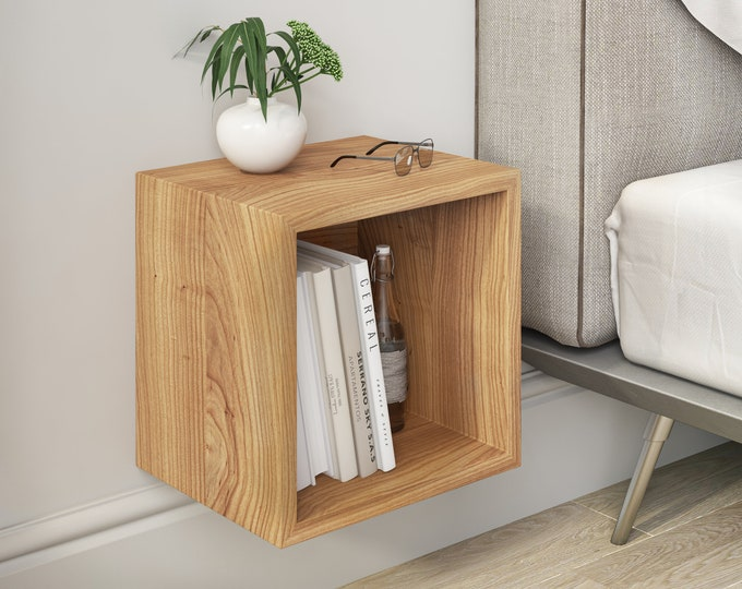 Solid Cherry Wood Floating Nightstand / Floating Walnut Bedside Table / Mid-century / Book Shelf