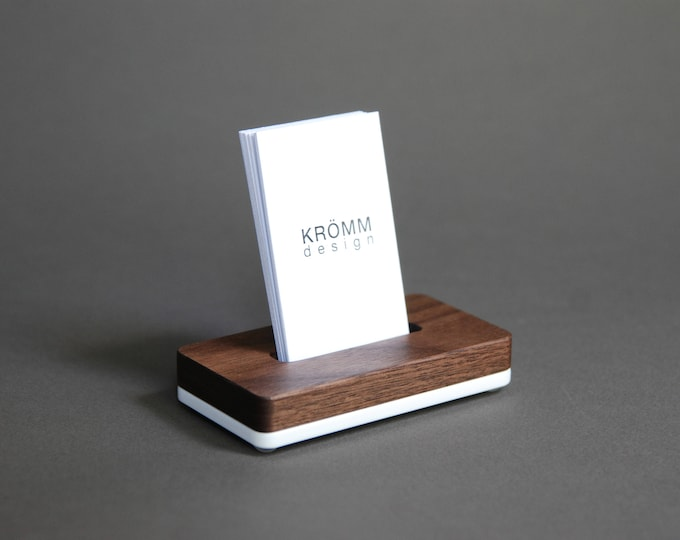 Vertical MOO Business Card Stand / Business Card Display / Wood Card Holder / Walnut Wood and Acrylic Single Vertical Card Stand