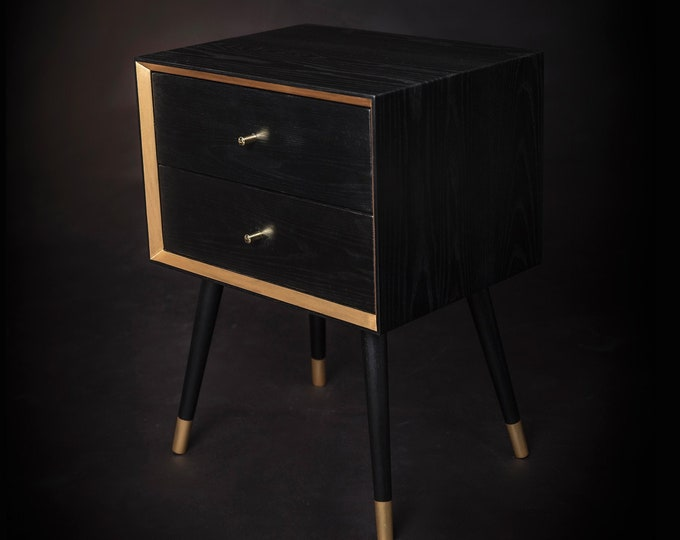Solid Oak Wood Mid-century Nightstand / Black Bedside Table