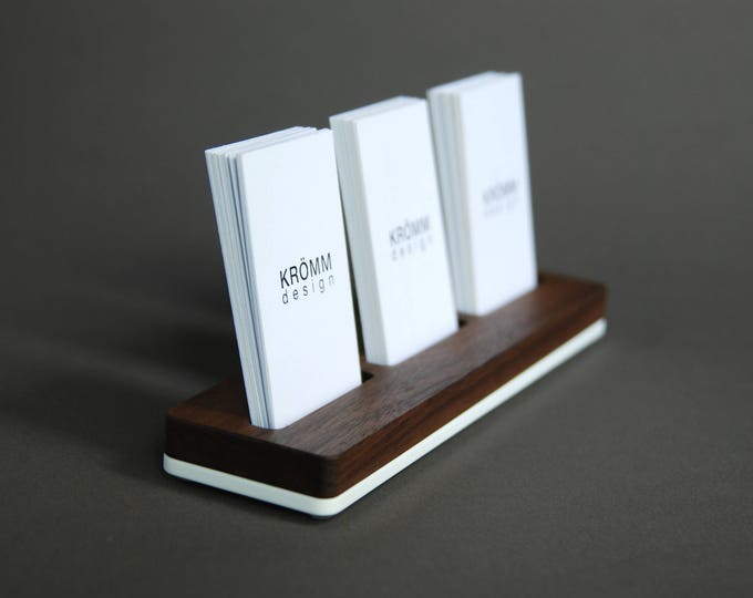 Wood MOO Business Card Stand / Multiple MOO Business Card Holder / Walnut Wood and Acrylic 3 Vertical Business Card Stand