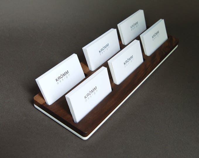 Wood Two-Row Business Card Holder for Front Desk / Wood Business Card Stand / Multiple Business Card Display  / Walnut Wood Card Holder