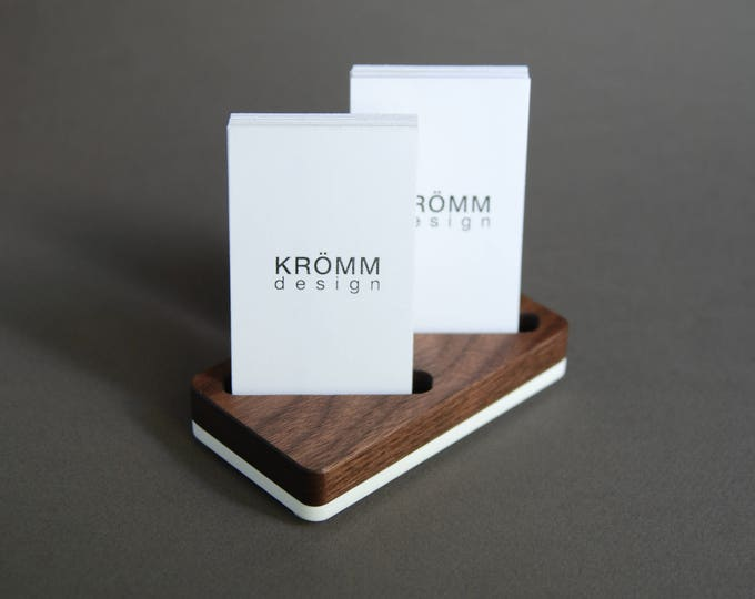Wood Two-Card Stand for Vertical Business Cards or MOO cards / Walnut Wood and Acrylic Business Card Holder