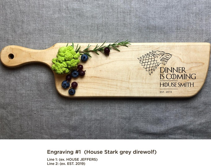 Game of Thrones cutting board, Personalized Cutting Board, Dinner is Coming - GoT, House Stark, Targaryen, Lannister, Gift for him, Dad