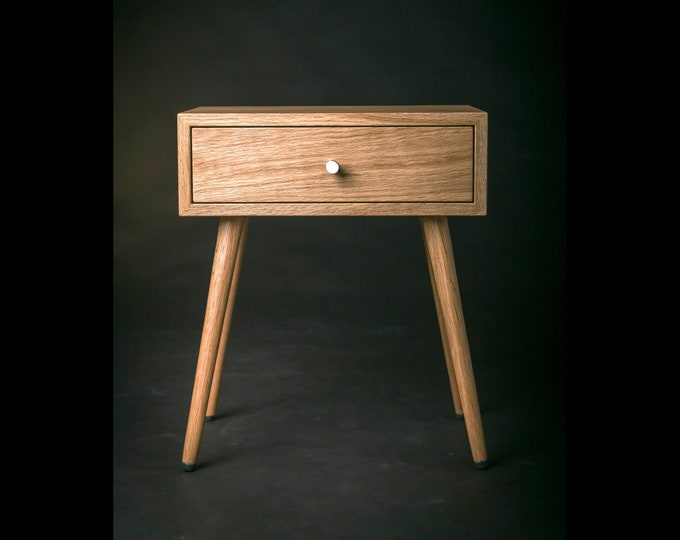 Solid Oak Wood Bedside Table with Drawer / Oak Wood End Table / Mid century Oak Wood Nightstand