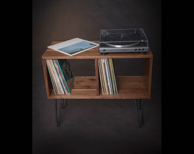 Vinyl Record Console, Turntable Stand, Solid Walnut Wood Storage on Hairpin Legs, Record Player Table, Media Center, Mid-Century Modern
