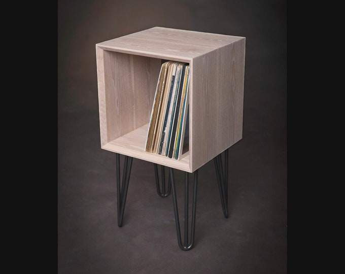 Vinyl Record Console, Solid Ash Wood Vinyl Record Storage on Black Steel Hairpin Legs, Mid-Century Modern