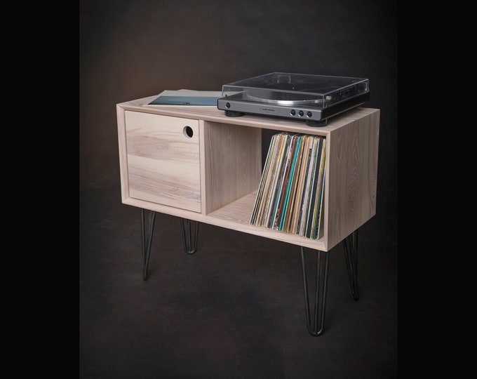 Vinyl Record Console, Record Player Stand, Ash Wood Vinyl Record Storage, Solid Wood Turntable Stand, Media Center, Mid-century Modern
