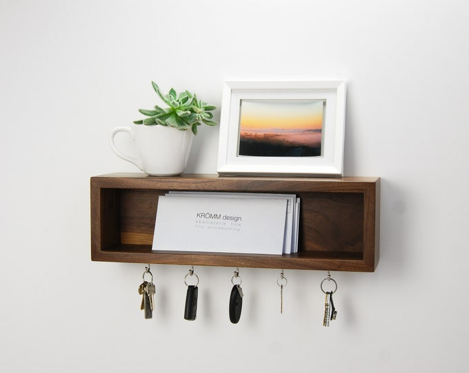 Floating Entryway Organizer / Scandinavian Design Inspired Floating Shelf