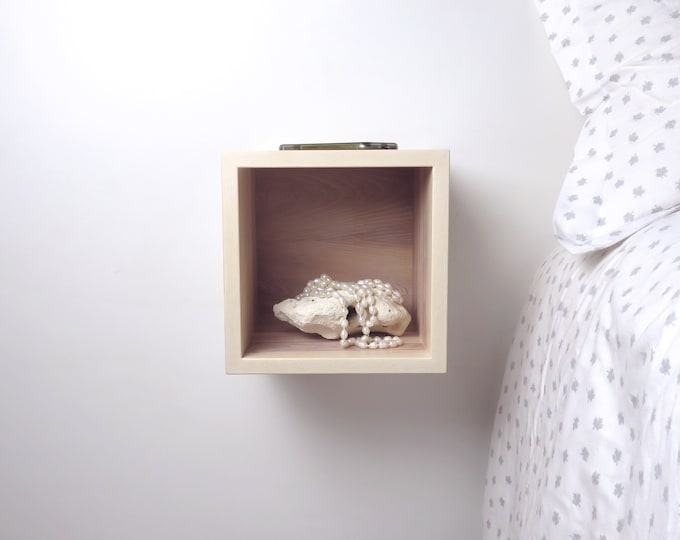 Tiny Solid White Ash Wood Floating Bedside Table Nightstand
