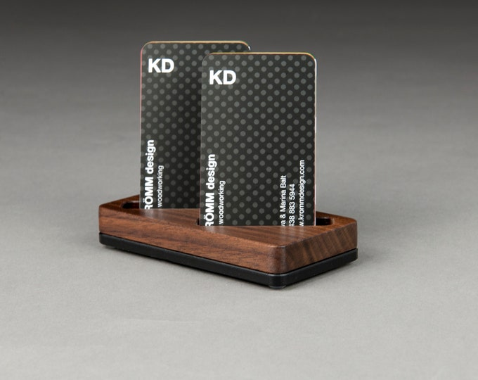Wood Two-Card Stand for Vertical Business Cards or MOO cards / Walnut Wood and Black Acrylic Business Card Holder