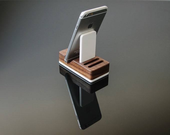 Universal Wood iPhone Holder / Smartphone Stand / Cell Phone Stand - Solid Walnut Wood and Acrylic iPhone Holder