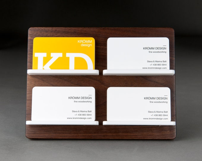 Two-Level Full-View Multiple MOO Business Card Stand in Walnut Wood and White Acrylic / Multiple Business Card Display
